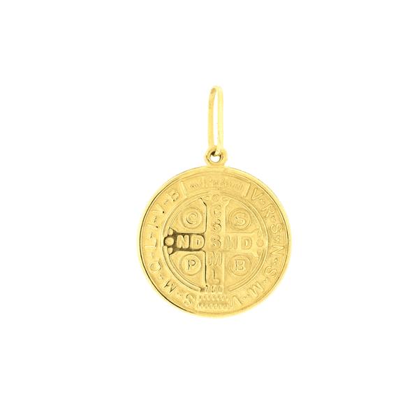 Pingente Ouro 18K Medalha de São Bento em Pé Grande