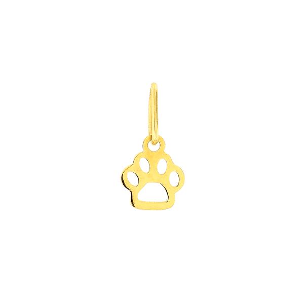 Pingente Pata de Cachorro Ouro 18K Pequeno Vazado