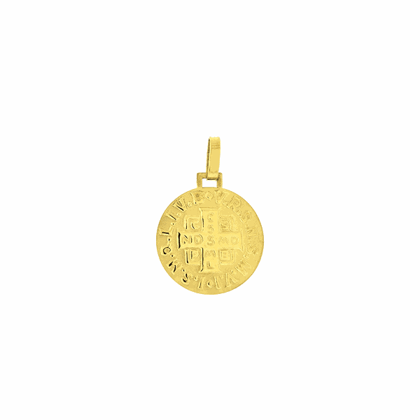 Pingente Ouro 18K Medalha de São Bento Média 15mm
