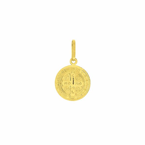 Pingente Ouro 18K Medalha de São Bento em Pé 12mm