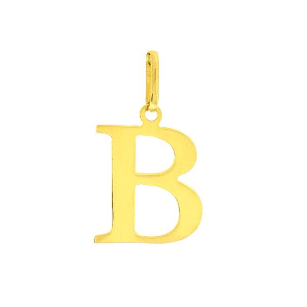 Pingente de Letra B em Ouro 18K