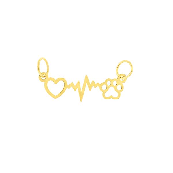 Pingente de Ouro 18K com Pata e Coração