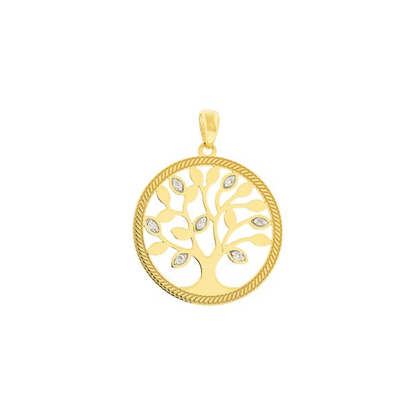 Pingente Árvore da Vida com Brilhantes em Ouro 18K