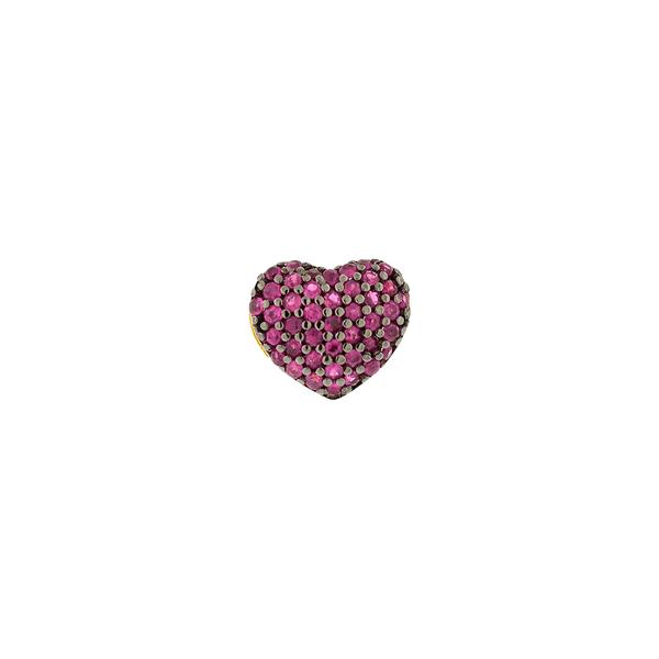 Pingente de Coração Cravejado com Rubis em Ouro 18K