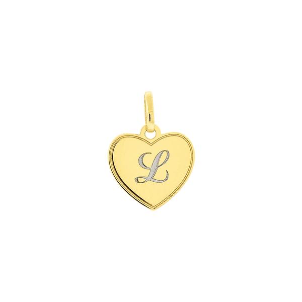 Pingente com coração e letra em ouro branco
