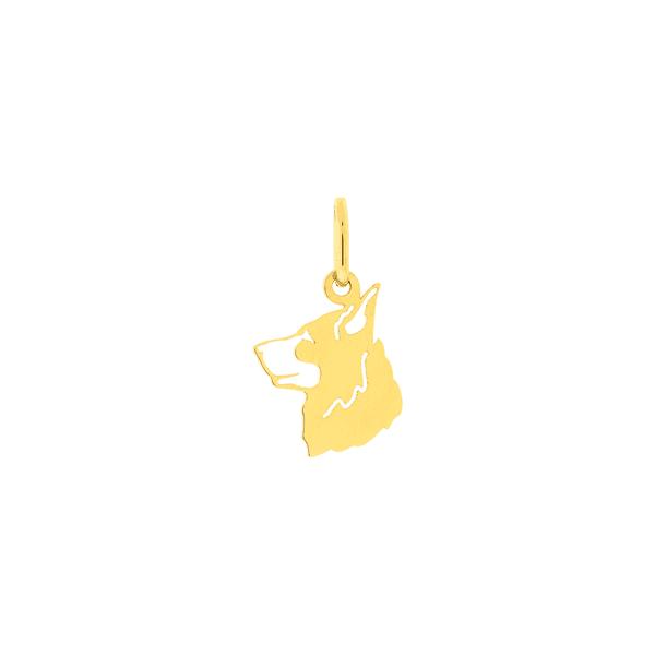 Pingente Cachorro Pastor Alemão de Ouro 18K Vazado