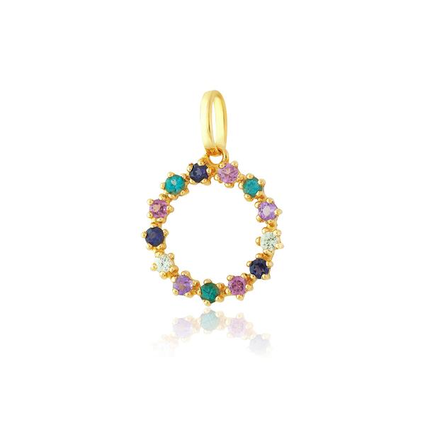 Pingente Círculo Pedras Naturais Coloridas Ouro 18K