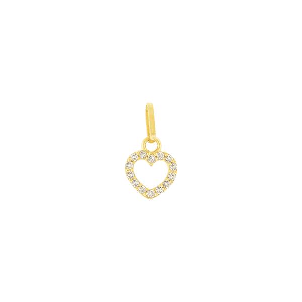 Pingente de Ouro 18K Coração Pequeno com Zircônias