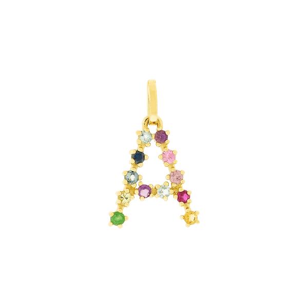 Pingente de Letra A em Ouro 18K Pedras Naturais Coloridas