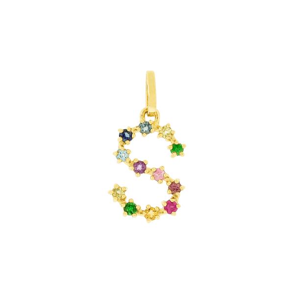 Pingente de Letra S em Ouro 18K Pedras Naturais Coloridas