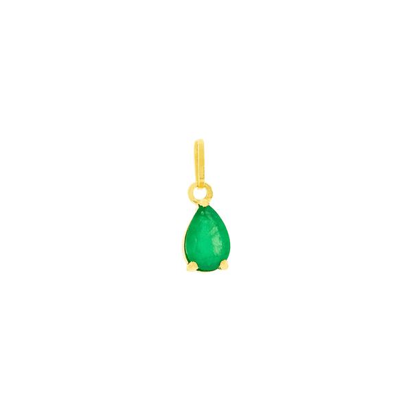 Pingente Pedra de Esmeralda Gota em Ouro 18K
