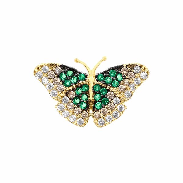 Pingente Borboleta com Zircônia Verde em Ouro 18K