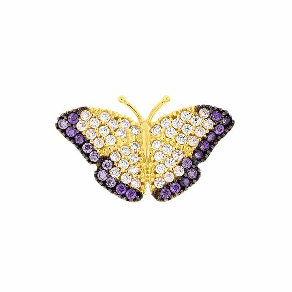 Pingente Borboleta Lilás com Zircônias Coloridas em Ouro 18K