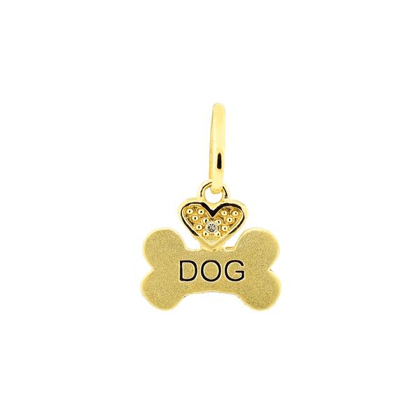 """Pingente de Osso """"DOG"""" em Ouro 18K"""
