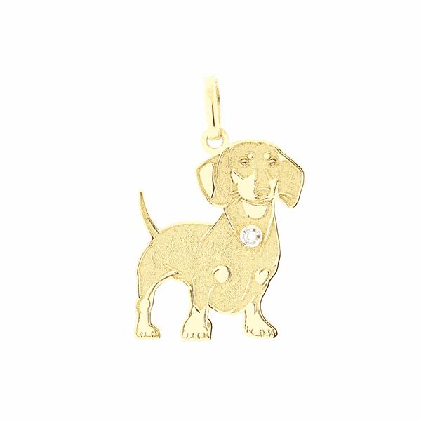Pingente de Ouro 18K Cachorro Dachshund com Brilhante
