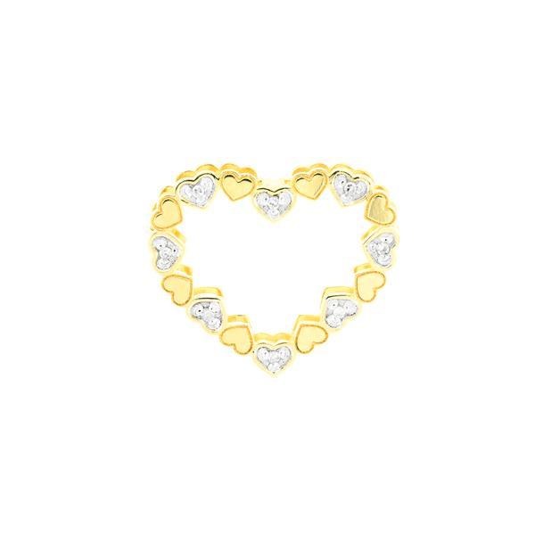 Pingente de Ouro 18K Coração Duplo com Diamantes