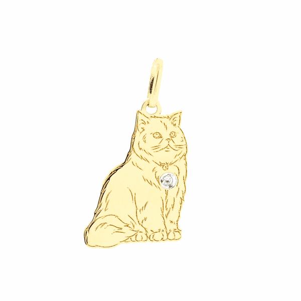 Pingente de Ouro 18K Gato Persa