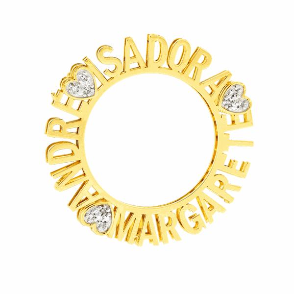 Pingente Mandala em Ouro com 3 Nomes e 3 Corações com Diamantes