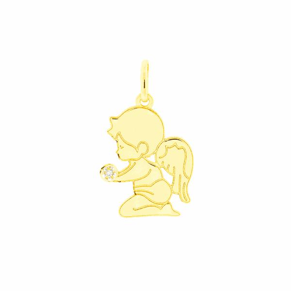 Pingente de Ouro 18K Anjo Ajoelhado com Diamante