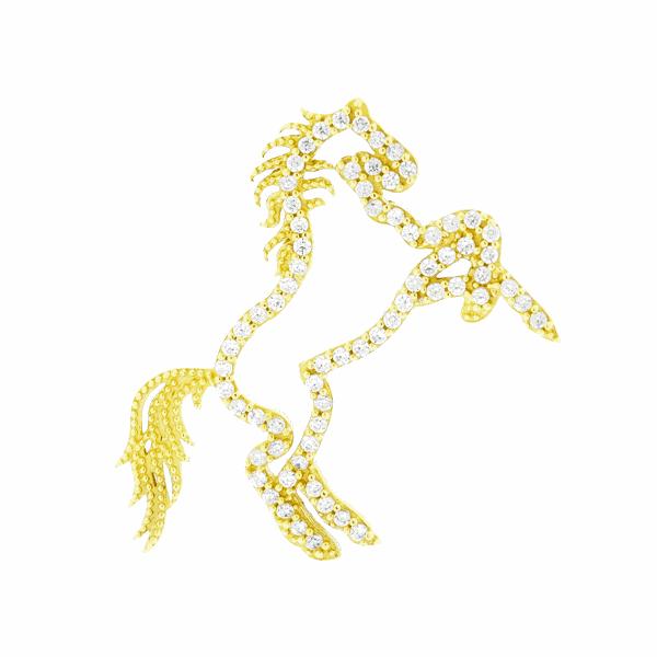 Pingente Cavalo com Zirconias Vazado Ouro 18K