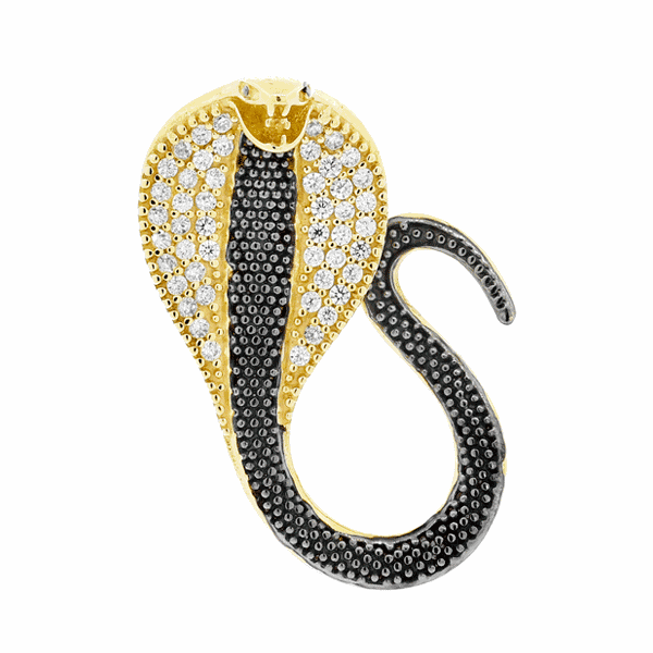 Pingente Cobra com Zirconias Ouro 18K