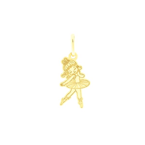 Pingente de Ouro 18K Bailarina Desenhada