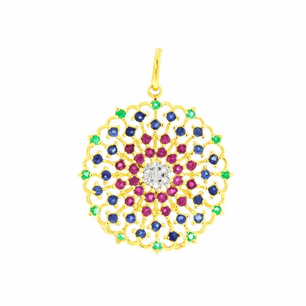 Pingente de Ouro 18K Mandala com Pedras Naturais