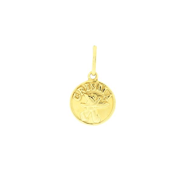 Pingente Medalha Crisma Ouro 18K Pequena