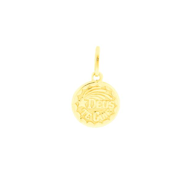 Pingente Medalha de Ouro 18K Deus te Guie