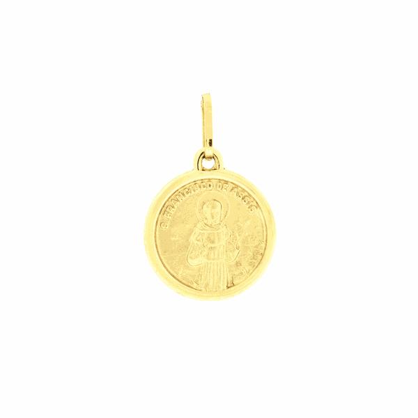 Pingente Medalha São Francisco de Ouro 18K