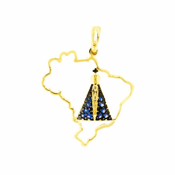 Pingente Nossa Senhora Aparecida Padroeira Brasil Ouro 18K