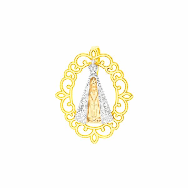 Pingente de Ouro 18K Nossa Senhora Aparecida Ouro Branco e Amarelo