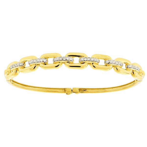 Bracelete de Ouro 18K Enlace Elos com Brilhantes