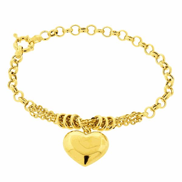 Pulseira Portuguesa de Ouro Feminina com Coração Pendente