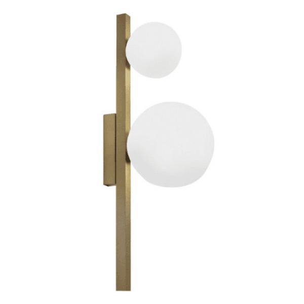 Arandela Orbit Dourada 2 Globos Vidros New Line ARH1535DO