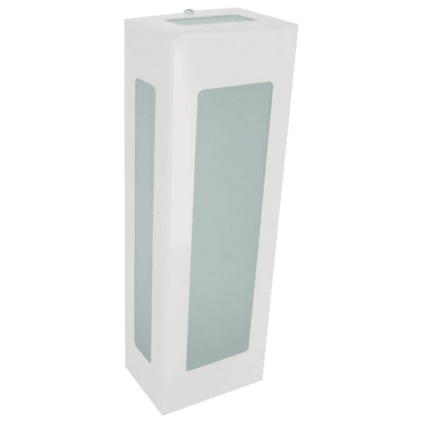 Arandela Retangular Branca 5 Vidros 30cm