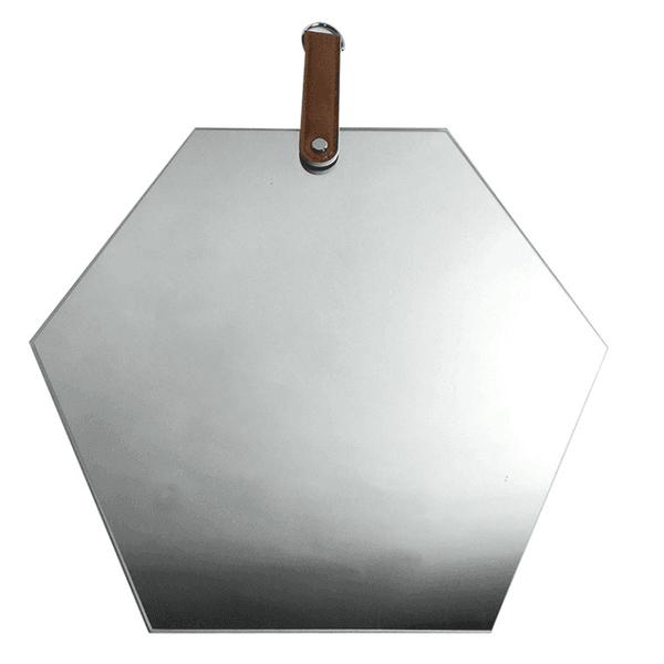 Espelho Hexagonal Fumê com Alça Caramelo 35cm Reduna PD1229