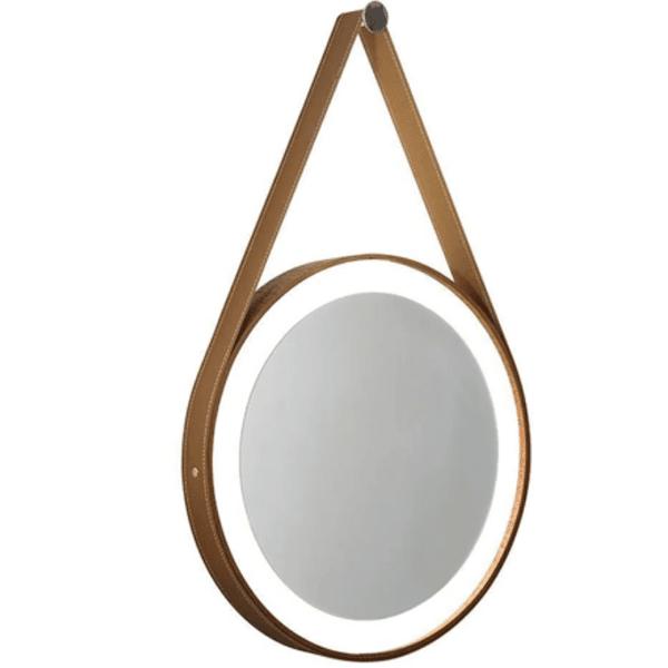 Espelho Redondo Branco Adnet com Alça Caramelo 40cm Reduna PD1161