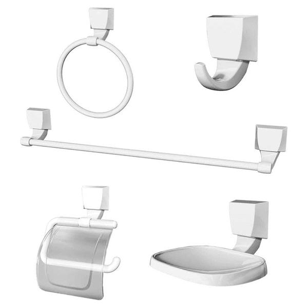 Kit de Acessórios Para Banheiro com 5 Peças Branco 2000 F24 Attic Lorenzetti 7140057