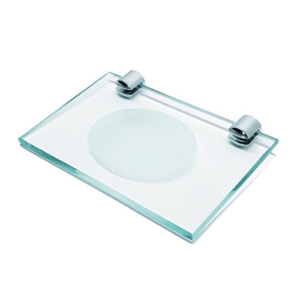 Saboneteira Reta Incolor em Vidro Comercial Pinhati