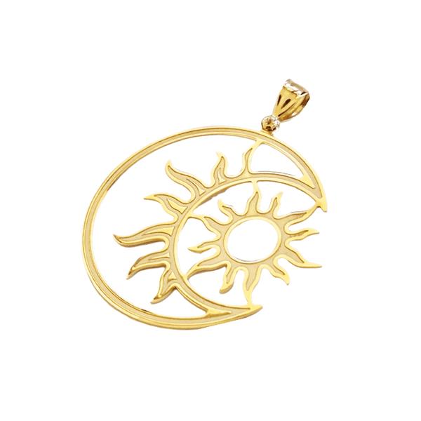 Pingente Feminino Sol e Lua em Ouro 18k