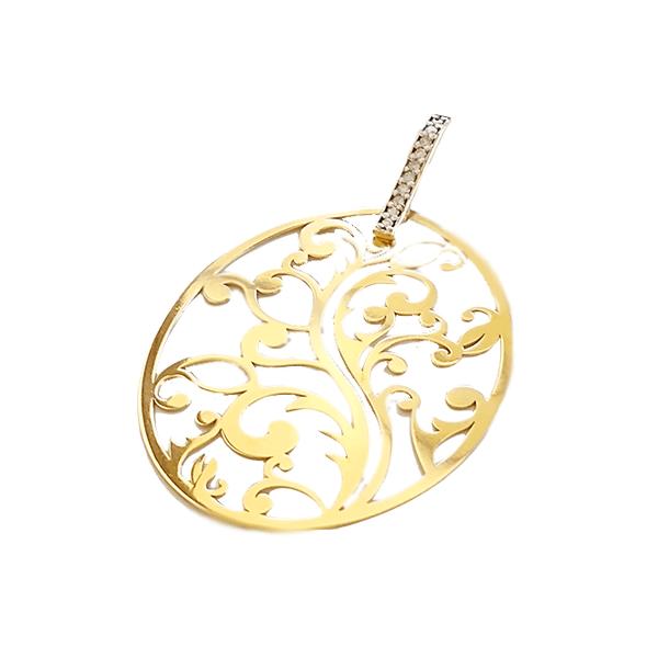 Pingente Feminino Mandala em Ouro 18k E Diamantes