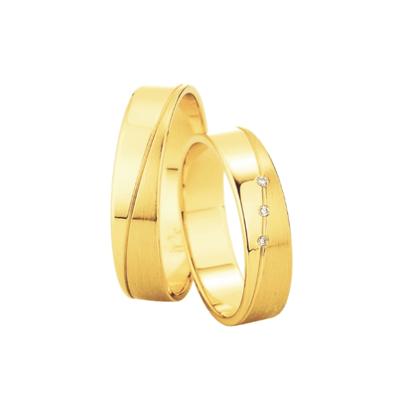 Par de Alianças de Casamento Barcelona em Ouro 18k Com Diamantes