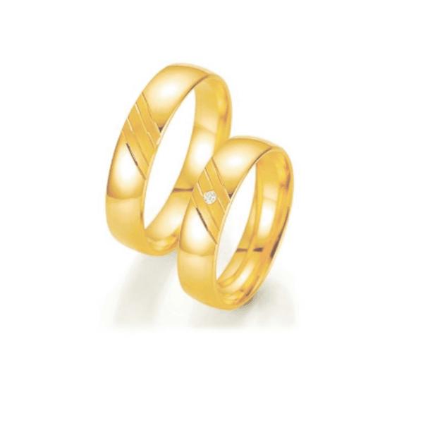 Par de Alianças de Casamento Milão em Ouro 18k Com Diamantes