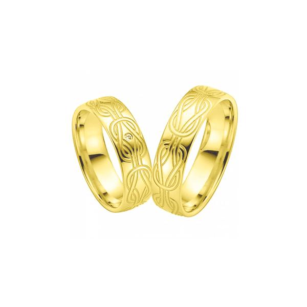 Par de Alianças de Casamento Turim em Ouro 18k Com Diamante
