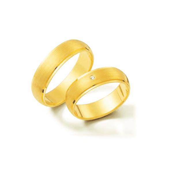 Par de Alianças de Casamento Amesterdão em Ouro 18k Com Diamante