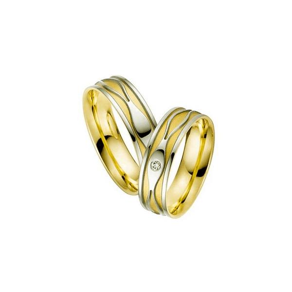 Par de Alianças de Bodas Lisboa em Ouro 18k Bicolor Com Diamantes