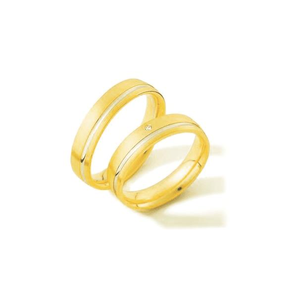 Par de Alianças de Bodas Hanóver em Ouro Bicolor 18k Com Diamantes