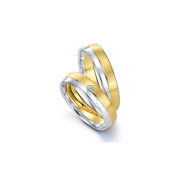 Par de Alianças de Bodas Nuremberga em Ouro Bicolor 18k Com Diamantes
