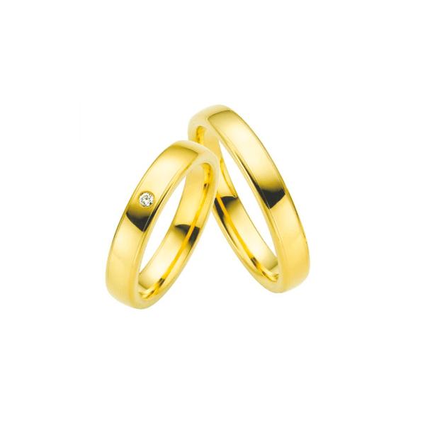 Par de Alianças de Casamento Tessalónica em Ouro 18k Com Diamante